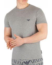 ff7f9a98b Emporio Armani - Grey Melange Crew Neck T-shirt - Lyst