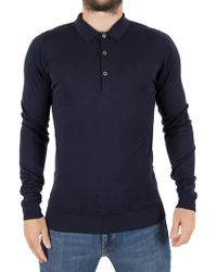 John Smedley - Midnight Belper Longsleeved Polo Shirt - Lyst