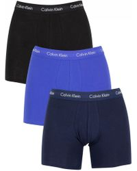Calvin Klein - Black/blue Shadow/cobalt Water 3 Pack Cotton Stretch Boxer Briefs - Lyst