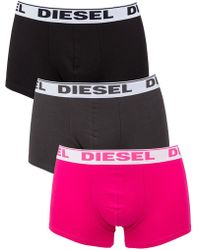 DIESEL - Charcoal/pink/black Shawn 3 Pack Boxer Trunks - Lyst