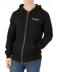 Nicce London - Black Zip Logo Hoodie - Lyst