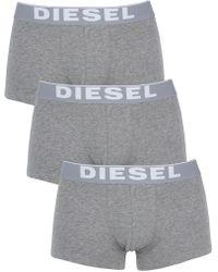 DIESEL - Grey 3 Pack Essential Stretch Cotton Boxer Trunks - Lyst