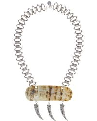 Devon Leigh - Statement Necklace With Carved Pendant - Lyst