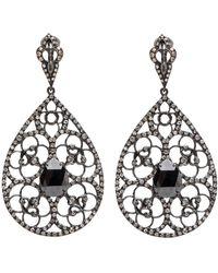 Loree Rodkin Black Diamond Filigree Teardrop Earrings Lyst