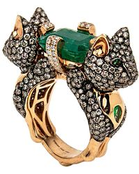 Wendy Yue - Emerald And Diamond Cat Ring - Lyst