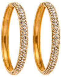 Darlene De Sedle   Gold Hoop Earrings With White Diamond Pave   Lyst