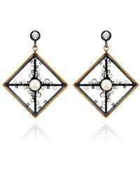 Nancy Newberg - Pearl And Diamond Gold Frame Drop Earrings - Lyst