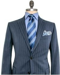 Belvest - Grey With Blue Triple Stripe Suit - Lyst