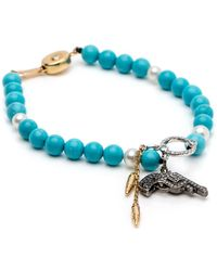 Wendy Yue - Turquoise And Pearl Charm Bracelet - Lyst