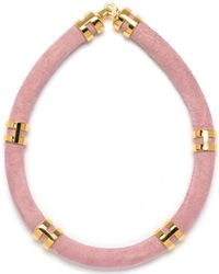 Lizzie Fortunato - Double Take Necklace In Pink Suede - Lyst
