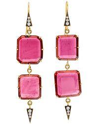 Sylva & Cie - Double Tier Ruby Drop Earrings - Lyst