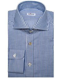Kiton - Blue Stripe Dress Shirt - Lyst