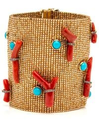 Silvia Furmanovich - Woven Coral And Turquoise Bead Bracelet - Lyst