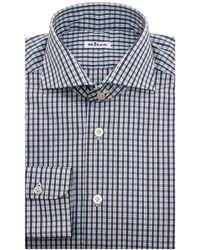 Kiton - Grey And Blue Plaid Dress Shirt - Lyst