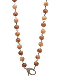 Hannah Ferguson - Sandalwood Short Wrap Necklace With Pave Clasp - Lyst