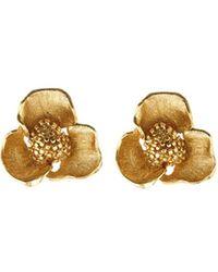 Oscar de la Renta - Blooming Bold Flower Button Earrings - Lyst