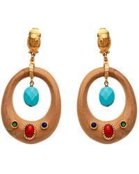 Gas Bijoux - Wooden Circle Dangle Earring - Lyst