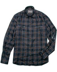 Robert Comstock - Navy And Copper Check Overshirt - Lyst