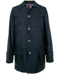 Isaia - Solid Navy Car Coat - Lyst