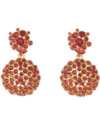 Oscar de la Renta - Scarlet Jeweled Flower Drop Earring - Lyst