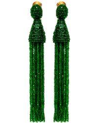 Oscar de la Renta - Apple Long Beaded Tassel Earrings - Lyst