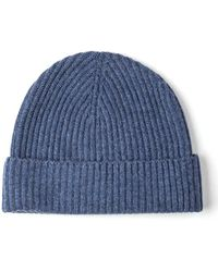 Johnstons - Blue Wash Ribbed Cashmere Beanie - Lyst