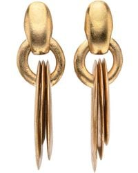 Monies - Gold Leaf Extra Large Triple Disc Earrings - Lyst
