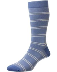 Pantherella Denim Beech Mid Calf Sock - Blue