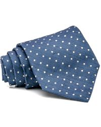 Isaia - Blue And White Dot Seven Fold Tie - Lyst