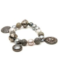 Hannah Ferguson - Grey And White Pearl Bracelet - Lyst