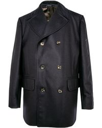 Belvest - Navy Double Breasted Peacoat - Lyst
