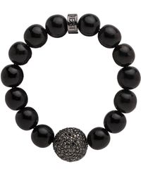 Nest - Black Horn Stretch Bracelet With Pave Accent Bead - Lyst