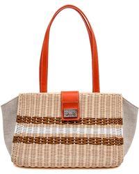 72f7452f6cf Rodo - Orange Leather And Wicker Striped Shoulder Bag - Lyst