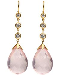 Darlene De Sedle - Rose Quartz Earrings With Bezel Set Diamonds - Lyst