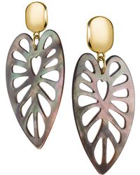 Nest - Carved Grey Mother Of Pearl Statement Earrings - Lyst