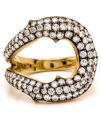 Sylva & Cie - White Diamond Horseshoe Ring - Lyst