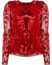 Naeem Khan - Sequin Long Sleeve Top - Lyst