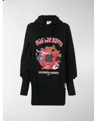 Vetements Oversized Embroidered Fleece-back Hoodie - Black