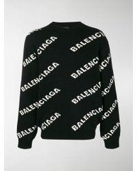 Balenciaga - Black And White Jacquard Logo Crewneck Jumper - Lyst