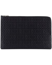 Loewe - Double Flat Leather Pouch - Lyst
