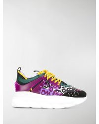 Versace - Chain Reaction Leather Trainers - Lyst