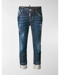 DSquared² - Cropped Washed Out Jeans - Lyst