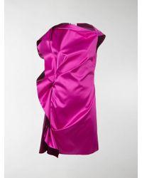 Lanvin - Draped Silk Satin Dress - Lyst