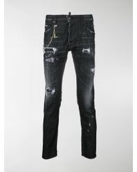 DSquared² - Skater Chain Trim Jeans - Lyst