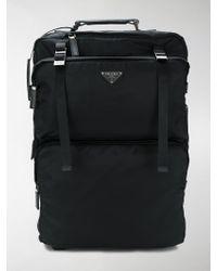 Prada - Black Nylon Trolley Suitcase - Lyst