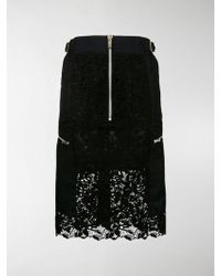 Sacai - Zipped Lace Fitted Skirt - Lyst