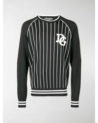 Dolce & Gabbana - Striped Logo Patch Jumper - Lyst