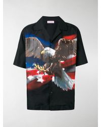 747348e1aab Lyst - Gucci Black Cat Print Silk Bowling Shirt in Black for Men