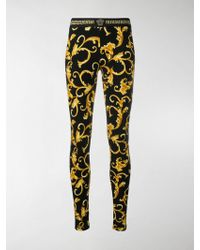 Versace - Printed Stretch-cotton Jersey Leggings - Lyst
