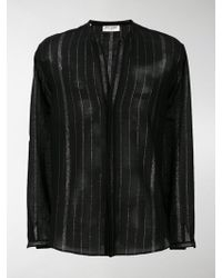 Discount The Cheapest striped mandarin collar shirt - Black Saint Laurent Cheap Sale Pay With Visa Sale Looking For Discount Best Store To Get Factory Outlet Cheap Price fJ3G7zr
